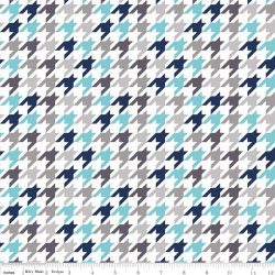Medium Houndstooth Blue and Gray on White