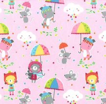 Puddle Play on Flannel - Pink
