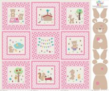 Teddy Bear Picnic Panel Pink