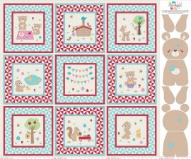 Teddy Bear Picnic Panel Aqua
