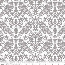 Hollywood Sparkle Damask Gray on White