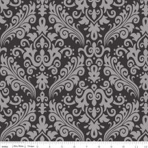Hollywood Sparkle Damask White on Black