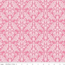 Hollywood Sparkle Damask White on Hot Pink