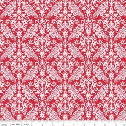 Hollywood Med Damask White on Red