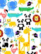 Jungle Animals White