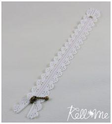 Csipkés cipzár- fehér - 20 cm