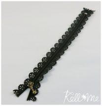 Csipkés cipzár- fekete - 20 cm